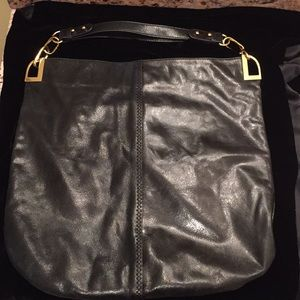 Badgley Mischka black leather large hobo bag